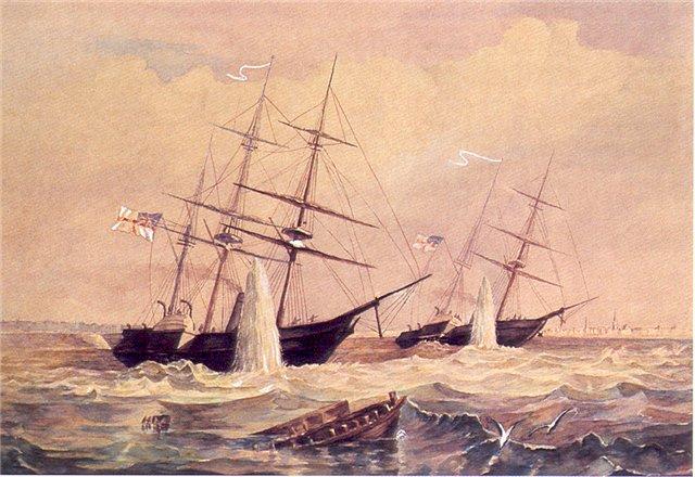 Подрыв кораблей англо-французской эскадры у Кронштадта 20 (8) июня 1855 г.